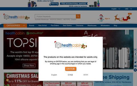 Screenshot of Home Page healthcabin.net - Electronic Cigarettes Wholesale Distributor,Vape,e-Cig,eLiquid,Flavor - HealthCabin - captured Dec. 12, 2018