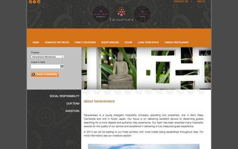 Screenshot of About Page karavansara.com - About Karavansara Hotels Resorts Cambodia Japan - captured Oct. 6, 2014