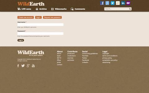 Screenshot of Login Page wildearth.tv - User account | WildEarth - captured Oct. 31, 2014