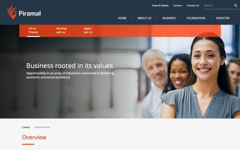 Screenshot of Jobs Page piramal.com - Life At Piramal : Careers : Piramal - captured Oct. 5, 2018