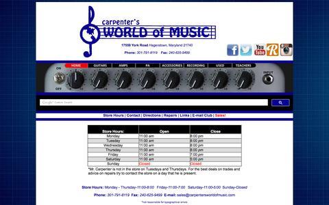Screenshot of Hours Page carpentersworldofmusic.com - Carpenter's World of Music - captured July 11, 2016