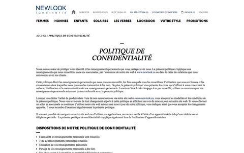 Screenshot of Privacy Page newlook.ca - Politique de confidentialité | Lunetterie New Look - captured Sept. 19, 2017