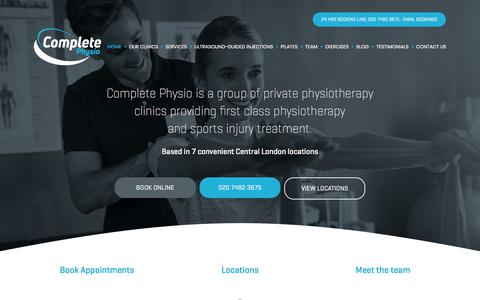 Screenshot of Home Page complete-physio.co.uk - Complete Physio: Physiotherapy and Osteopathy in London - captured July 20, 2018