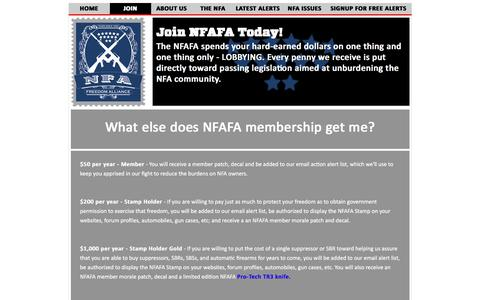 Screenshot of Signup Page nfafa.org - Join The NFAFA Today! - captured Feb. 28, 2018