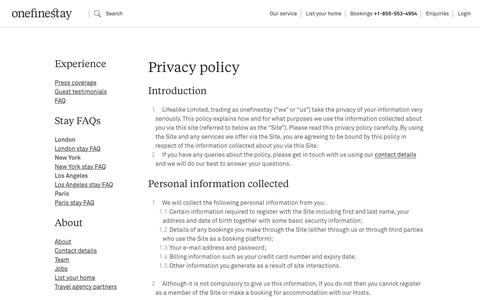 Screenshot of Privacy Page onefinestay.com - Privacy policy | onefinestay - captured Feb. 24, 2018