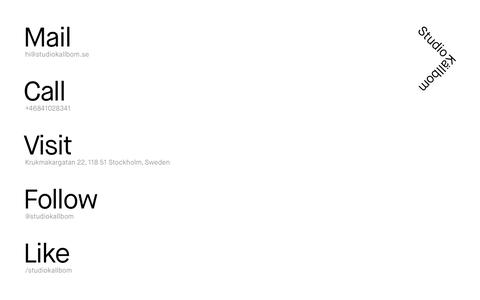 Screenshot of Contact Page studiokallbom.se - Contact - Studio Källbom - captured Nov. 5, 2014