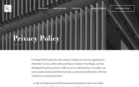 Screenshot of Privacy Page kangandgill.com - Privacy Policy - Kang & Gill - captured Oct. 16, 2017