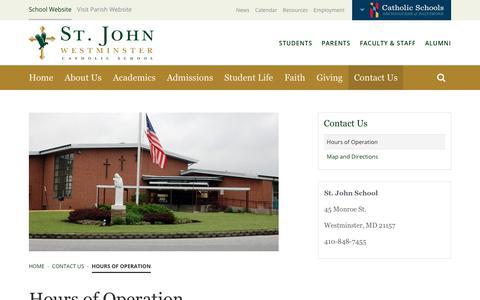 Screenshot of Hours Page sjwestschool.org - Hours of Operation | St. John Catholic School - captured Oct. 26, 2017