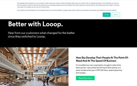 Screenshot of Case Studies Page looop.co - Case Studies - Major brands use Looop LMS - captured Nov. 4, 2019