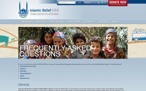 Screenshot of FAQ Page irusa.org - Frequently Asked Questions – Islamic Relief USA - captured Sept. 25, 2014