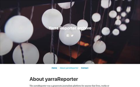 Screenshot of About Page wordpress.com - About yarraReporter – Yarra Reporter archive - captured Oct. 25, 2018