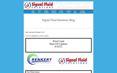 Screenshot of Blog signalfluidsolutions.com - Signal Fluid Solutions Blog | Welcome to Signal Fluid Solutions - captured Jan. 11, 2016