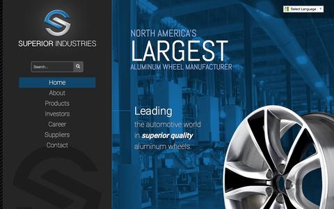 Screenshot of Home Page supind.com - Superior Industries Inc - OEM Aluminum Wheel Manufacturer - captured Aug. 16, 2015