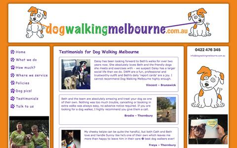 Screenshot of Testimonials Page dogwalkingmelbourne.com.au - Dog Walking Melbourne testimonials | Dog Walking Melbourne - captured Aug. 7, 2018