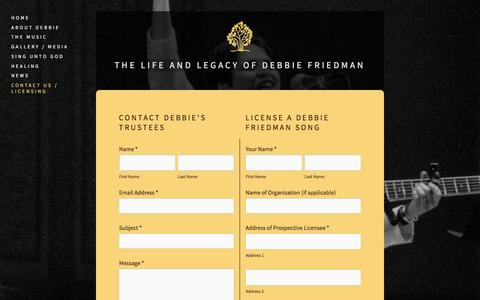 Screenshot of Contact Page debbiefriedman.com - Contact Us  /  Licensing — The Life and Legacy of Debbie Friedman - captured April 11, 2017