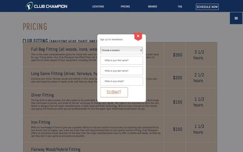 Screenshot of Pricing Page clubchampiongolf.com - Pricing - Club Champion Golf - captured Nov. 7, 2016