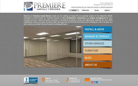 Screenshot of Home Page premiereinstallmovers.com - Premiere Install Movers: Office Installations & Relocations - captured Sept. 30, 2014