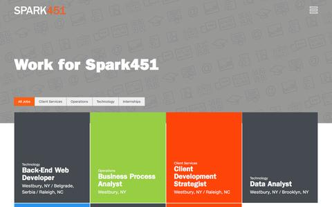 Screenshot of Jobs Page spark451.com - Careers | Spark451 - Spark451 - captured Dec. 1, 2016