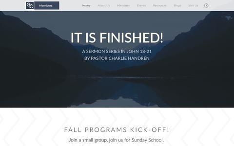 Screenshot of Home Page gcfmn.org - Glory of Christ Fellowship | Home - captured Sept. 29, 2018