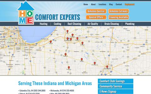 Screenshot of Locations Page homecomfortexpertsinc.com - Our Locations | Mishawaka | South Bend | Elkhart | Plymouth | Columbia City | Warsaw | Ft. Wayne | LaPorte | Indiana | Niles, Michigan | Home Comfort Experts - captured Nov. 11, 2016