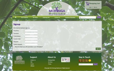 Screenshot of Signup Page moringamedicinals.com - Moringa Medicinals - Signup - captured Oct. 7, 2014