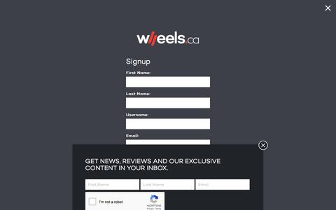 Screenshot of Signup Page wheels.ca - Signup – WHEELS.ca - captured Sept. 22, 2018