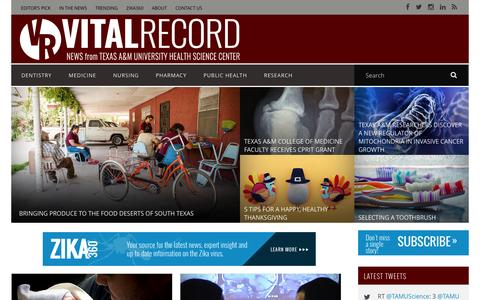 Screenshot of Press Page tamhsc.edu - Vital Record: Top Health News Source from the Texas A&M Health Science Center - captured Dec. 1, 2016
