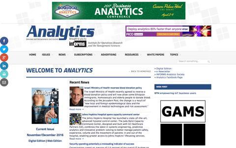 Screenshot of Home Page analytics-magazine.org - Analytics Magazine | Analytics Magazine - captured Dec. 28, 2016