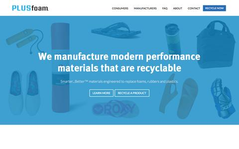 Screenshot of Home Page plusfoam.co - PLUSfoam - 100% Recyclable Foam – Smarter, Better Material Solutions - captured Jan. 23, 2015