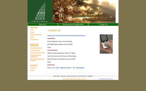 Screenshot of Contact Page asha.org.in - :: Welcome to Asha :: - captured Oct. 4, 2014