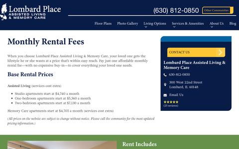 Screenshot of Pricing Page spectrumretirement.com - Monthly Rental Pricing   Lombard Place Assisted Living & Memory Care - captured Oct. 23, 2018