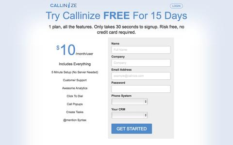 Screenshot of Pricing Page callinize.com - Callinize Pricing - captured Sept. 24, 2014