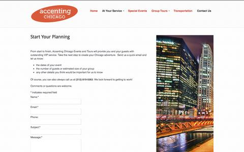 Screenshot of Contact Page accentingchicago.com - Start Your Planning  |  Accenting Chicago - captured Oct. 4, 2014