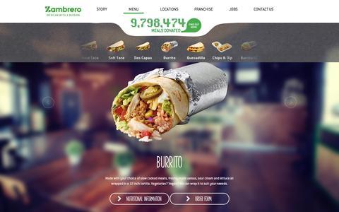 Screenshot of Menu Page zambrero.com - Menu | Zambrero - captured Aug. 18, 2016