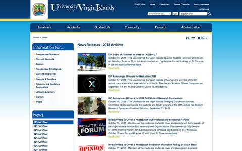 Screenshot of Press Page uvi.edu - News Releases - 2018 Archive - captured Oct. 19, 2018