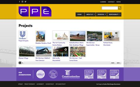 Screenshot of Case Studies Page ppeconstruction.com - Projects | PPE - captured Oct. 2, 2014