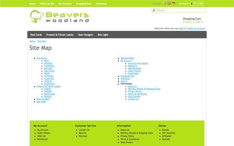 Screenshot of Site Map Page beaverswoodland.com - Site Map - captured Sept. 30, 2014