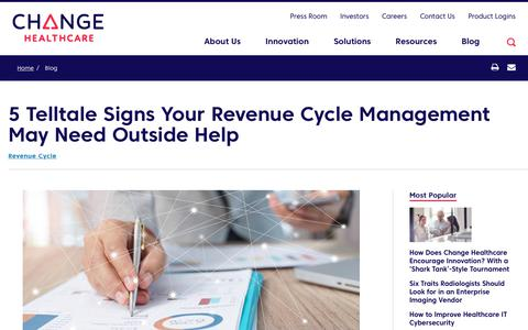 Screenshot of Team Page changehealthcare.com - 5 Telltale Signs Your Revenue Cycle Management May Need Outside Help | Change Healthcare - captured Feb. 20, 2020