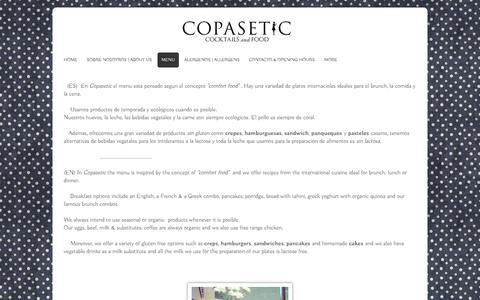 Screenshot of Menu Page copaseticbarcelona.com - Copasetic Barcelona - Menu - captured Oct. 23, 2018