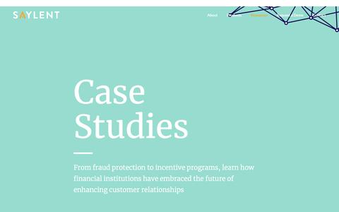 Screenshot of Case Studies Page saylent.com - Case Studies - Saylent | The Future of Personalized Banking - captured May 9, 2019