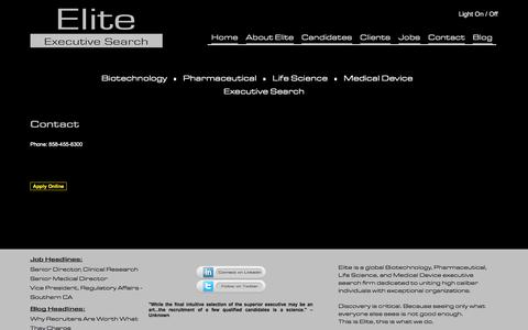 Screenshot of Contact Page eliteexecsearch.com - Contac Elite Recruiting Services.  Biotechnology, Pharmaceutical, Life Science,  and Medical Device Executive Search Firm.   Pharmaceutical Recruiter - Biotechnology Recruiter. | Elite Executive Search - captured Nov. 1, 2014