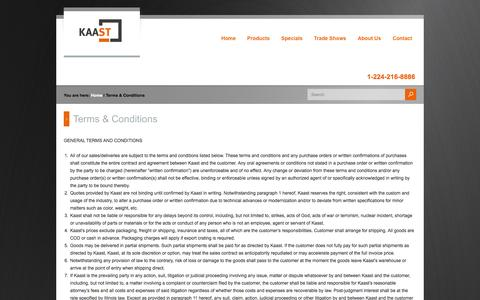 Screenshot of Terms Page kaast-usa.com - Terms & Conditions - captured Oct. 6, 2014