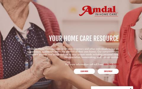 Screenshot of Home Page amdalinhome.com - Home Care | Tulare, California | Amdal In-Home Care - captured Oct. 3, 2018