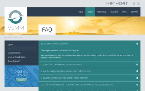 Screenshot of FAQ Page vemm.com.br - FAQ - VEMM - captured Oct. 27, 2014