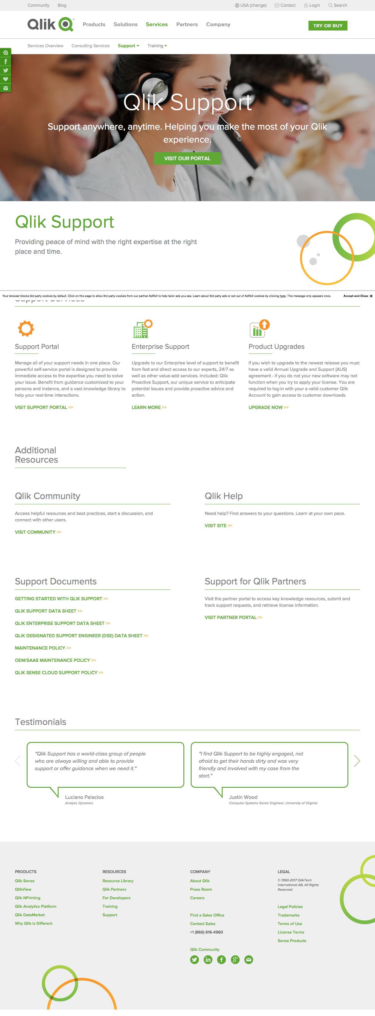 Screenshot of qlik.com - Customer Support - captured Sept. 27, 2017