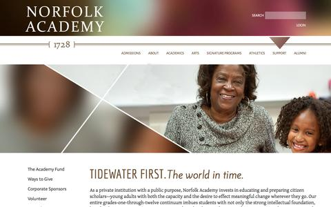 Screenshot of Support Page norfolkacademy.org - Norfolk Academy | Supporting The Academy today and tomorrow - captured Dec. 3, 2016