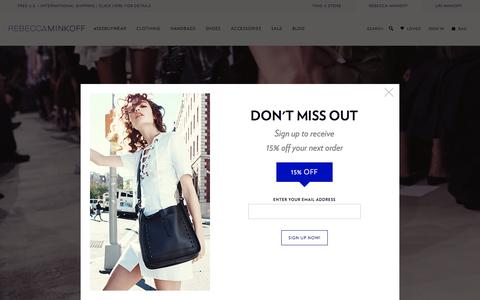 Screenshot of Home Page rebeccaminkoff.com - Rebecca Minkoff Online Store: Handbags, Clothing, Shoes, & Accessories  | Rebecca Minkoff - captured Feb. 19, 2016