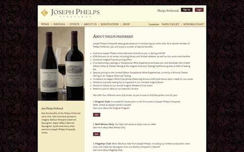 Screenshot of Signup Page josephphelps.com - About Phelps Preferred :  Joseph Phelps Vineyards - captured Sept. 23, 2014