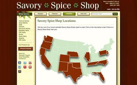 Screenshot of Locations Page savoryspiceshop.com captured Oct. 27, 2014