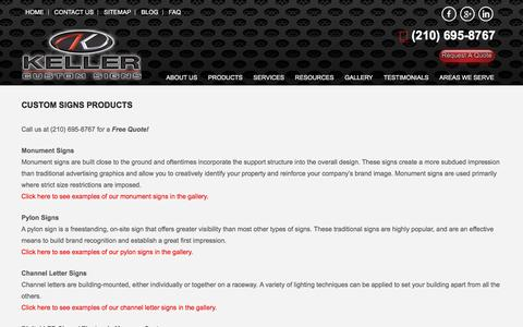 Screenshot of Products Page kellercustomsigns.com - Custom Signs - Keller Custom Signs - captured Aug. 8, 2016
